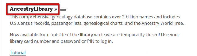Ancestry Library log in screen
