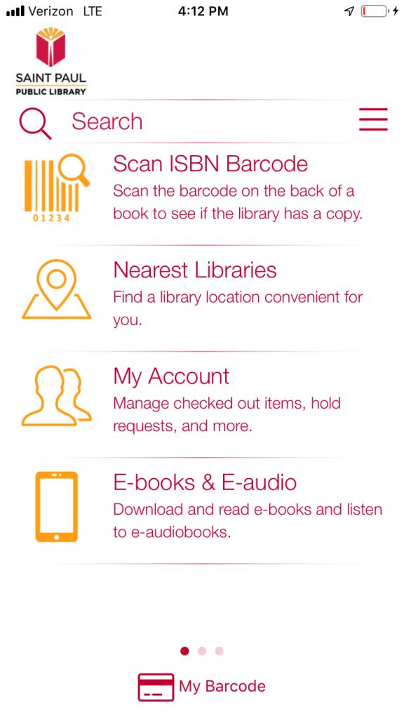 new app main menu